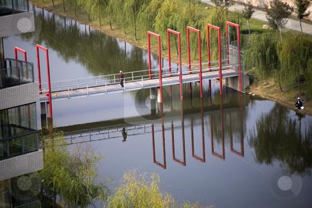 Fishing and Red Bridge Shanghai Suburbs China stock photo, Fishing and Red Bridge River Weilaiyu Shanghai Suburbs China by William Perry