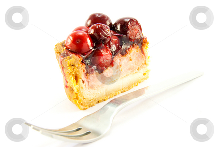 Slice of Pork Pie with Fork stock photo, Slice of pork pie and a fork with clipping path on a white background by Keith Wilson
