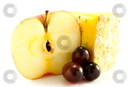 Red Apple, Blue Cheese and Grapes stock photo, Sliced red apple with slice of blue cheese and grapes with clipping path on a white background by Keith Wilson