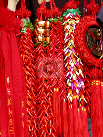 Chinese Souvenirs  stock photo, Chinese Souvenirs at Mount Tai Red Ribbons by William Perry