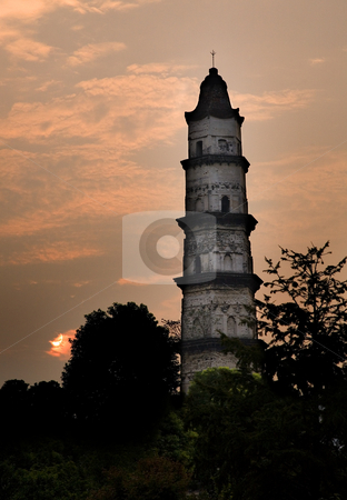 Great Mercy Pagoda, Shaoxing, China stock photo, Great Mercy Pagoda, Shaoxing, Zhejiang Province, China, Sunrise in orange pink sky.  Ancient Pagoda built 1,000 years ago, by William Perry