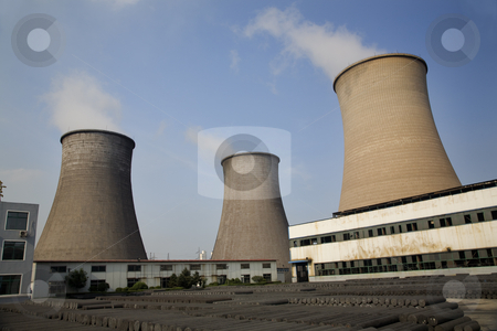 Cooling Towers Coal Fired Electricity Plant Anshan Liaoning Prov stock photo, Cooling Water Towers, Coal Fired Electricity Plant, Anshan, Liaoning Province, China  This was taken from public property.  No property release is required. by William Perry