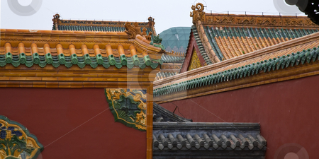 Roofs Dragons Walls Manchu Imperial Palace Shenyang Liaoning Chi stock photo, Roofs Walls Dragons Imperial Palace Shenyang Liaoning Province ChinaResubmit--In response to comments from reviewer have further processed image to reduce noise, sharpen focus and adjust lighting. by William Perry