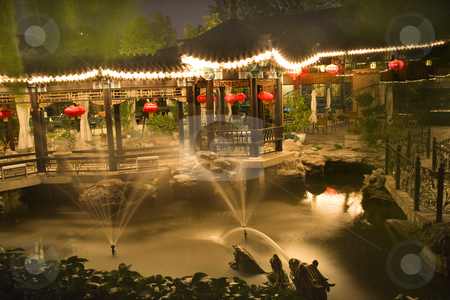 Red Lanterns Fountains Temple of the Sun  Beijing China Night stock photo, Red Lanterns Fountains Temple of the Sun Beijing, China Night Shot by William Perry