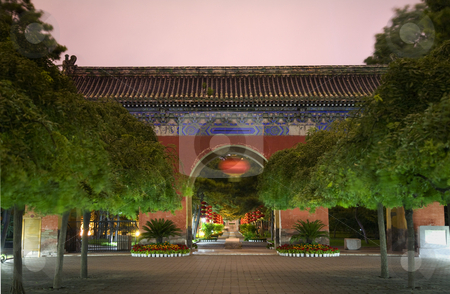 Red West Heaven Gate and Lanterns Temple of the Sun Beijing Chin stock photo, Red West Heaven Gate and Lanterns Temple of the Sun Beijing, China Night Shot by William Perry