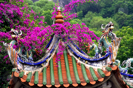 Dragon Roof Taoist Temple Xiamen China stock photo, Dragon Roof, Taoist Temple, with bouganvillia, Xiamen, Fujian Province, China by William Perry