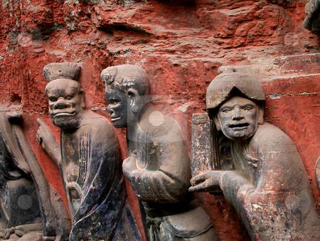 Ancient Rock Carvings, Dazu, Sichuan, China stock photo, Ancient Rock Carvings of Chinese officials, Dazu, Chongqing, Sichuan, China by William Perry