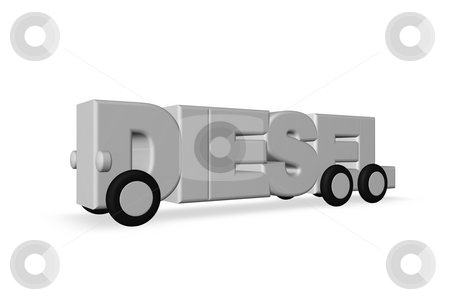 Diesel stock photo, The word diesel on wheels on white background - 3d illustration by J?