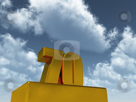 Seventy stock photo, The number seventy - 70 -  in front of blue sky - 3d illustration by J?