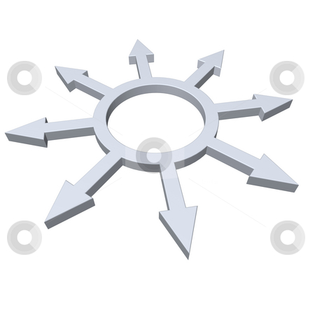 Outsourcing stock photo, Ring with pointers in all directions - 3d illustration by J?