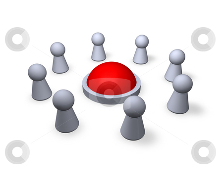 Together stock photo, Circle of play figures with red ball in the middle - 3d illustration by J?