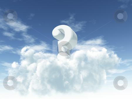 Question stock photo, White question mark in cloudy sky - 3d illustration by J?