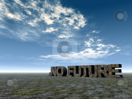 No future stock photo, No future rock in desert and blue sky - 3d illustration by J?