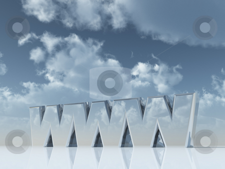 Www stock photo, The letters www in front of cloudy blue sky - 3d illustration by J?