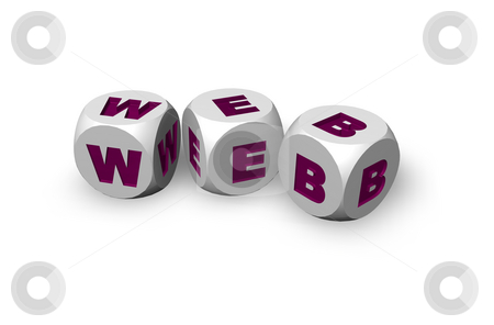 Web dices stock photo, Three dices with the letters web on white background - 3d illustration by J?