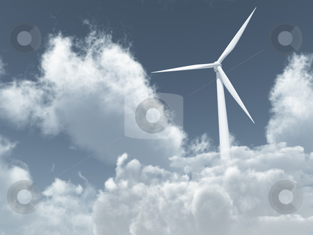 Wind power stock photo, White wind turbine in cloudy sky - 3d illustration by J?