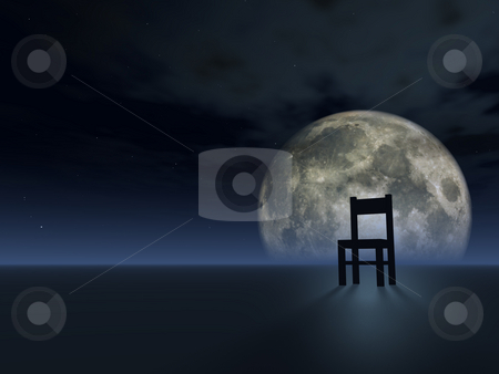 Wait stock photo, Lonely chair and full moon - 3d illustration by J?
