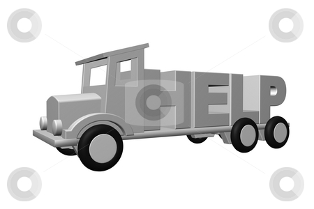 Help stock photo, The word help on an old truck - 3d illustration by J?