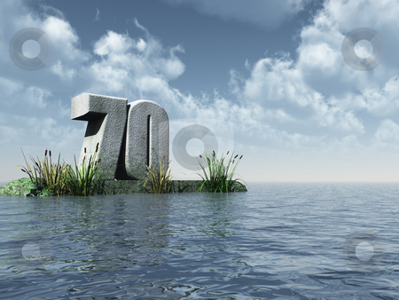 Seventy stock photo, The number seventy - 70 -  at the ocean - 3d illustration by J?