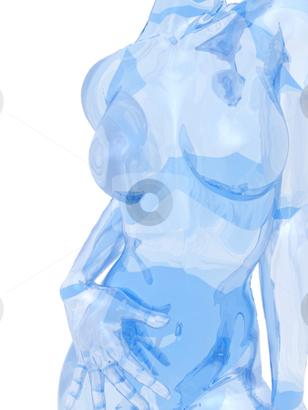 Glass woman stock photo, Glass woman sculpture on white background - 3d illustration by J?