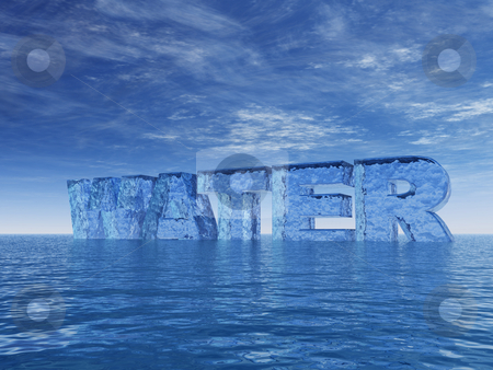 Water stock photo, The word water at the ocean - 3d illustration by J?