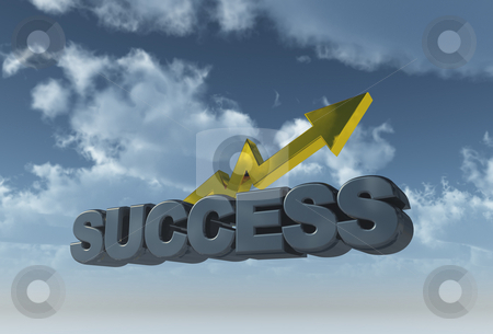 Success stock photo, The word success and graph in front of blue sky - 3d illustration by J?