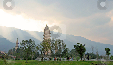 Towering buddhist temples in the afternoon light in dali, china stock photo,  by Shi Liu