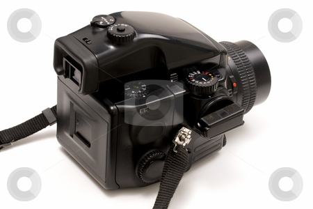 Camera stock photo, Black camera isolated on white by Ingvar Bjork
