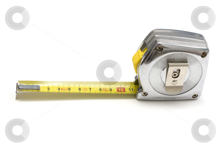 Tape measure stock photo, Tape measure isolated on white background by Ingvar Bjork