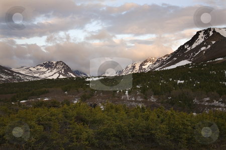 Hiking Flattop Mountain at Sunset Anchorage Alaska stock photo, Hiking Flattop Mountain, Sunset, Anchorage, Alaska, snow, mountains. by William Perry