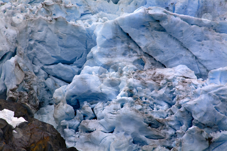 Portage Glacier Abstract Alaska stock photo, Blue Portages Glacier with Colored Rock Close Up, Anchorage, Alaska by William Perry
