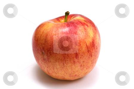 One red apple stock photo, One red apple on white background by Ingvar Bjork