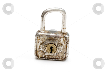 Old padlock stock photo, Old padlock isolated on white by Ingvar Bjork
