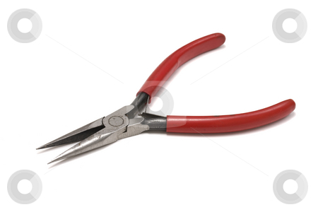 Flat pliers stock photo, Flat pliers isolated on white background by Ingvar Bjork