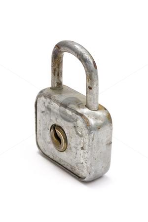 Old padlock stock photo, Old padlock isolated on white by Ingvar Bjork