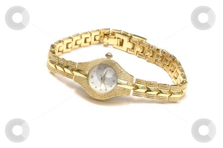 Woman wrist watch stock photo, Woman gold wrist watch on white by Ingvar Bjork