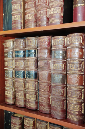 Old books on a shelf stock photo, Some really old reference books on a bookshelf. by Nicolaas Traut