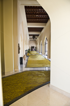 A luxurious corridor in a hotel. stock photo, A corridor in a luxurious hotel with lavish furnishing and finishes. by Nicolaas Traut