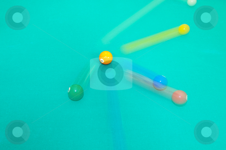 Pool balls moving stock photo, Conceptual shot of moving pool balls using rear-curtain flash and a slow shutter. by Nicolaas Traut