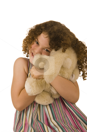 Adorable little girl stock photo, An adorable little girl with very curly hair. Isolated on white. by Nicolaas Traut