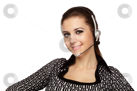Customer support service stock photo, Cheerful customer service operator with headset over white. by Ivelin Radkov
