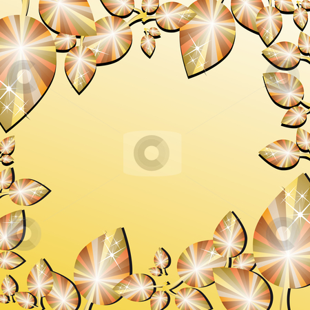 Autumn leaf border stock vector clipart, Autumn leaf border with space in the middle by Karin Claus