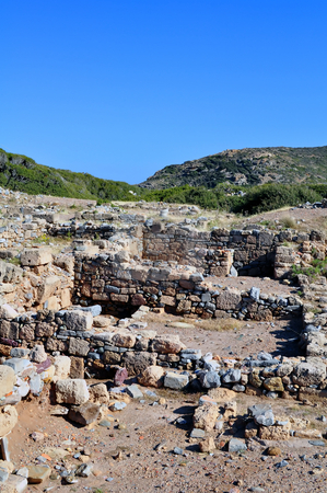 Ancient ruins in Crete, Greece stock photo, Travel photography: Ruins at the Itanos minoan archaeological site, near Vai, Crete, Greece by Fernando Barozza