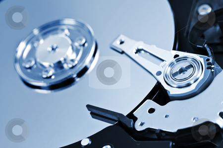 Hard drive detail stock photo, Closeup of hard disk drive internal components by Elena Elisseeva