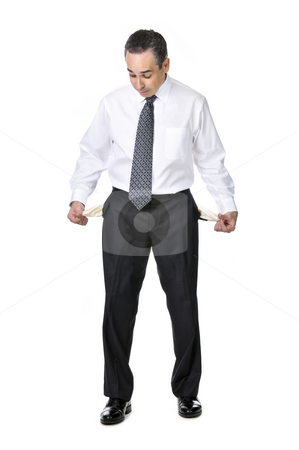 Business man in suit stock photo, Broke business man in suit isolated on white background by Elena Elisseeva