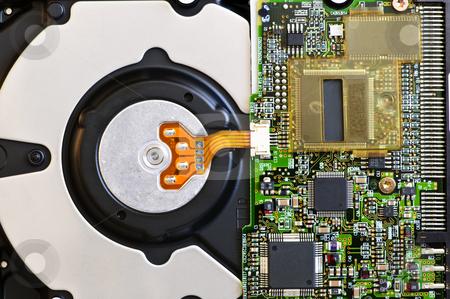 Hard drive detail stock photo, Closeup of hard disk drive internal electronics by Elena Elisseeva