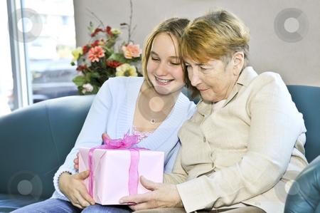 Granddaughter visiting grandmother stock photo, Granddaughter giving a present to her grandmother by Elena Elisseeva