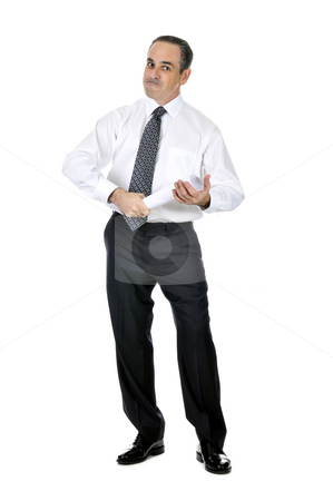 Businessman with rolled paper stock photo, Business man in suit holding rolled up paper by Elena Elisseeva