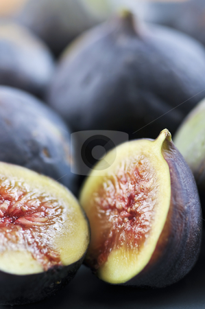 Sliced figs stock photo, Closeup view of figs sliced in half by Elena Elisseeva