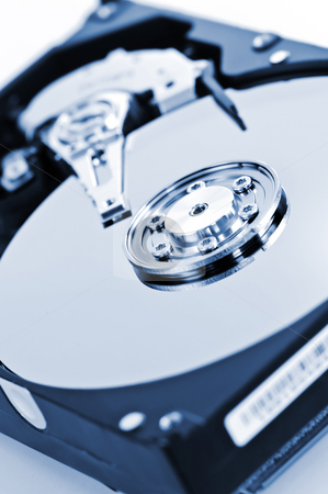 Hard drive detail stock photo, Closeup of hard disk drive internal components by Elena Elisseeva